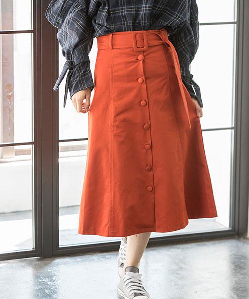 フロントボタンロングスカート  73-120143