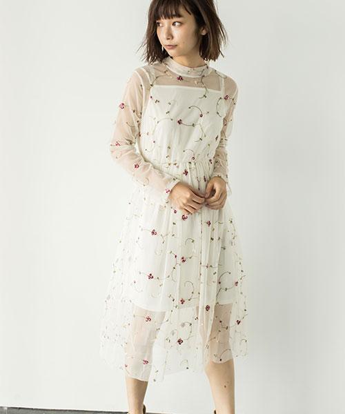 シースルー花柄刺繍ワンピース 73-120155