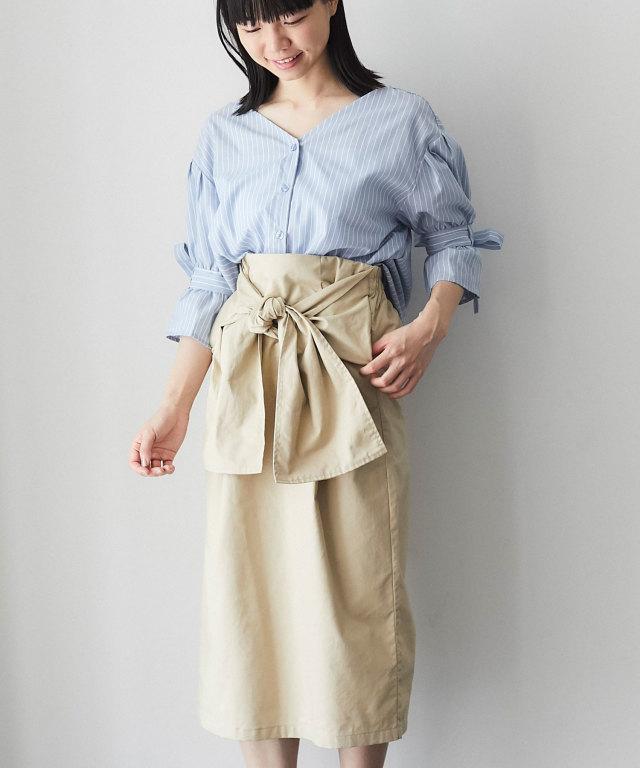 フロントリボンタイトスカート 73-125996【SALE品につき返品/交換不可】