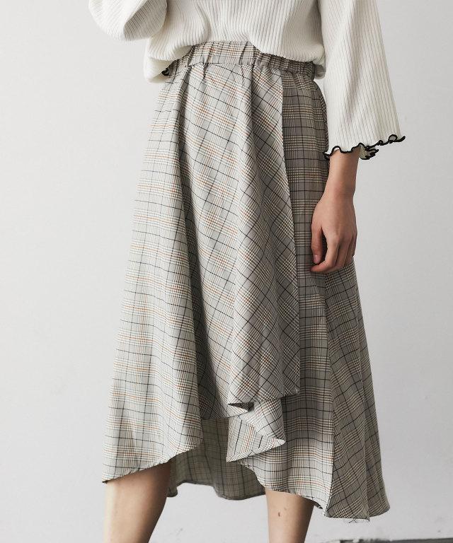チェック柄フィッシュテールスカート 73-126808