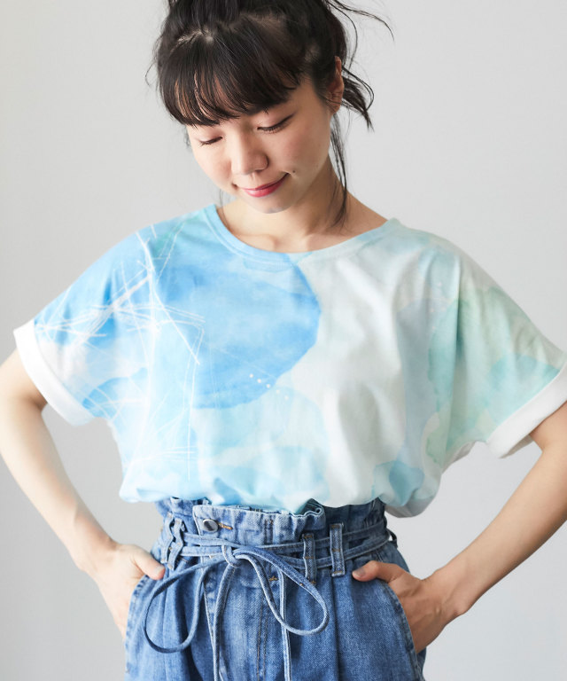 水彩プリントTシャツ 73-127149
