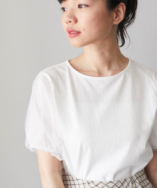 チュール袖Tシャツ 73-127666
