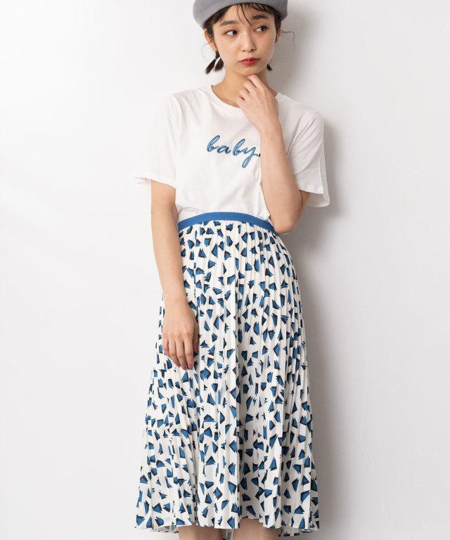 刺繍Tシャツ×三角柄スカート 73-128896