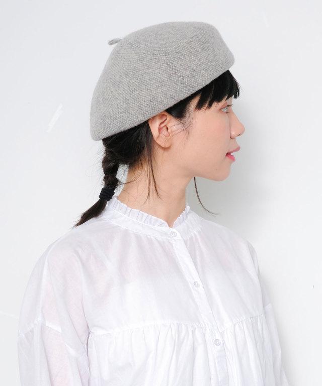 ウール柄編みベレー帽 73-130201