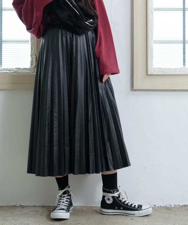 合皮プリーツスカート 73-131818