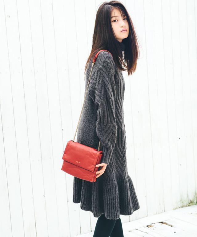 《今田美桜さん着用》模様編みニットワンピース 73-133835