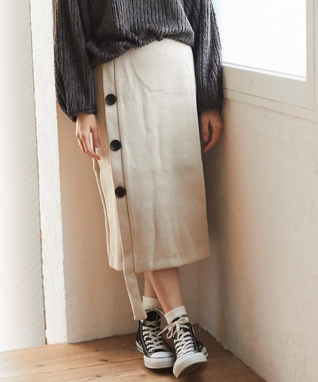 サイドボタンニットスカート 73-133836