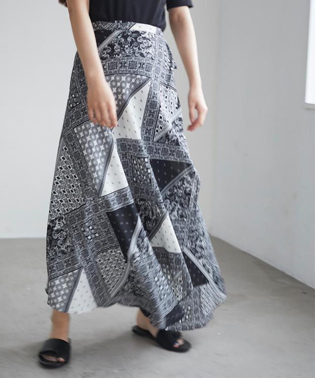 パターンラップスカート 73-137653*SALE品につき返品/交換/注文確定後の変更キャンセル不可*