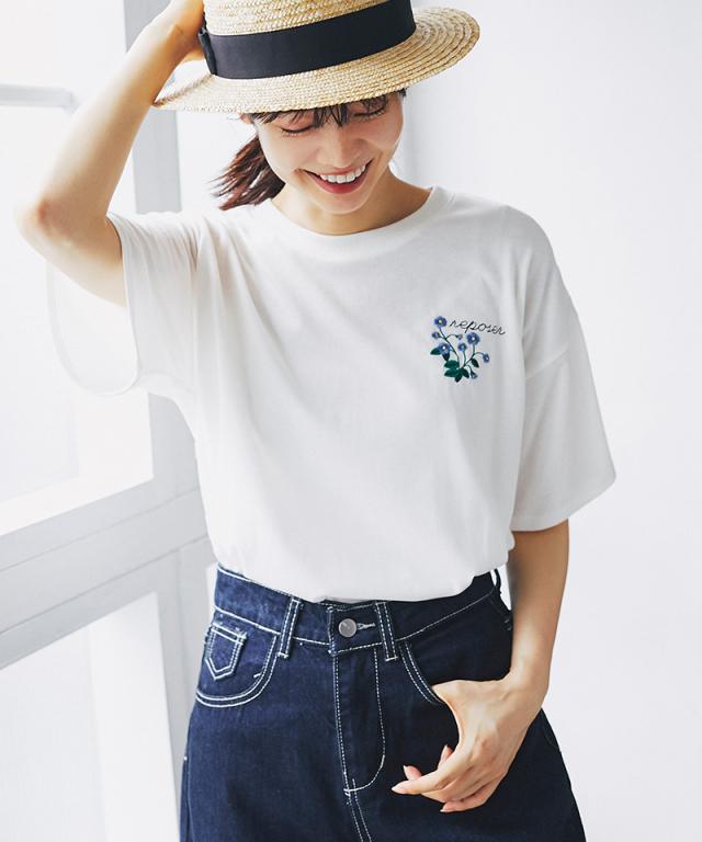 フラワー刺繍Tシャツ73-139327*SALE品につき返品/交換/注文確定後の変更キャンセル不可*