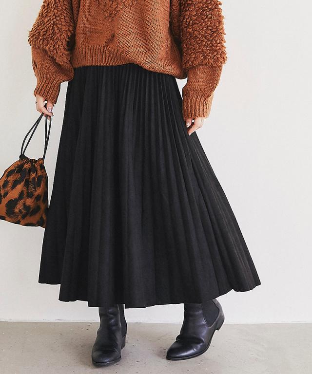 【@yuki_takahashi0706さんbuying item】フェイクスエードプリーツスカート73-144300