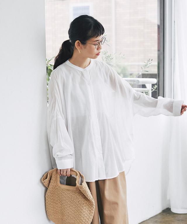 《リンネル10月号掲載》《9月12日再販決定》 シルキーコットンバックギャザーシャツ73-148501
