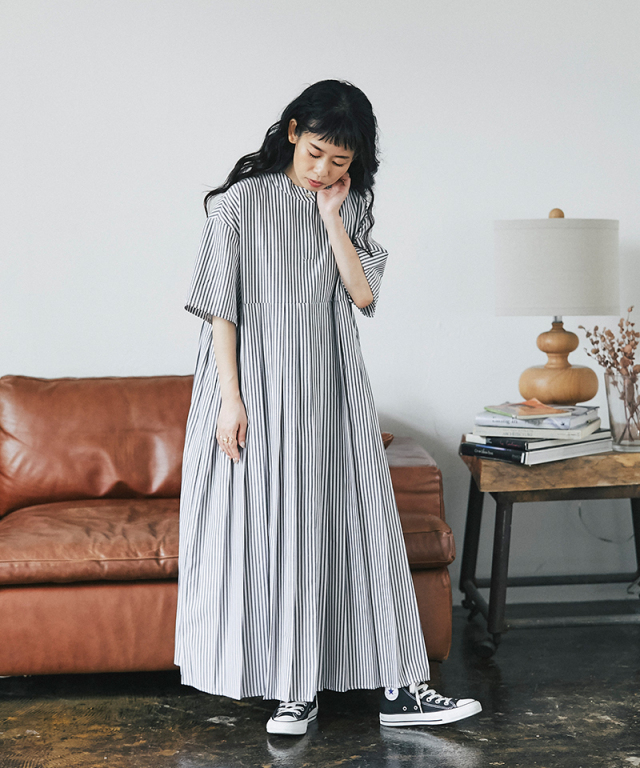 《yukiさんコラボ》ストライプ半袖プリーツワンピース 73-149261