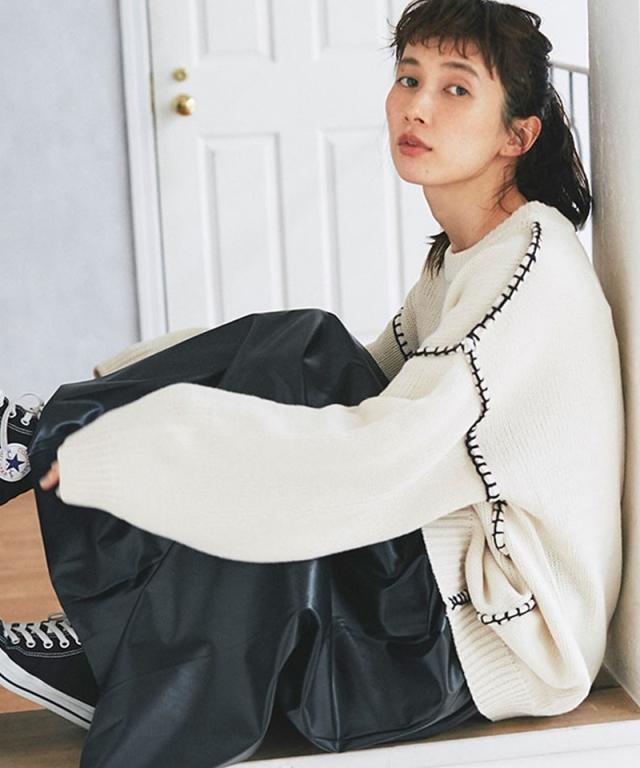 《kazumiさん着用》ローゲージラインオーバーニット73-150102