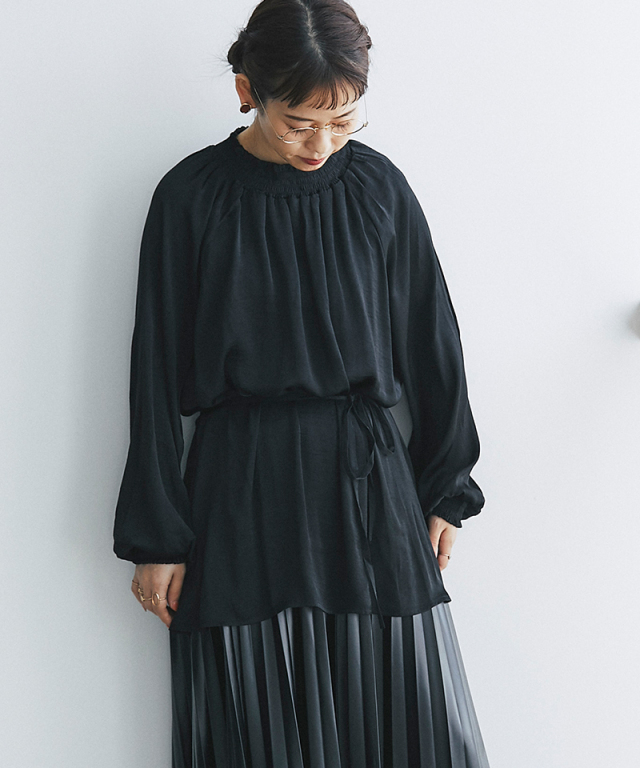 ギャザーリボンシャツ73-150118