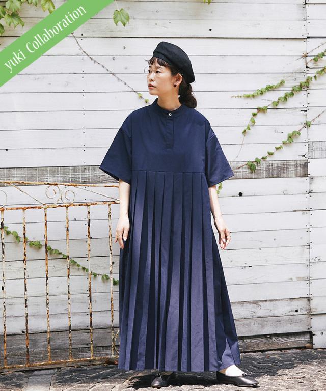 《yukiさんコラボ》リンネル10月号掲載※8月29日再販予定 半袖プリーツワンピース 73-150391