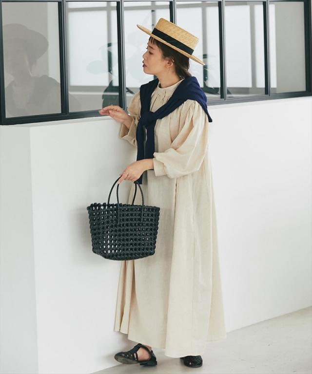 《kazumiさん着用》《リンネル11月号掲載》《10月30日再販決定》コットンリネンロングシャツワンピース 73-150763