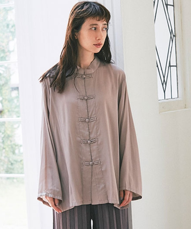 《kazumiさん着用》パウダーサテンチャイナシャツ73-150817