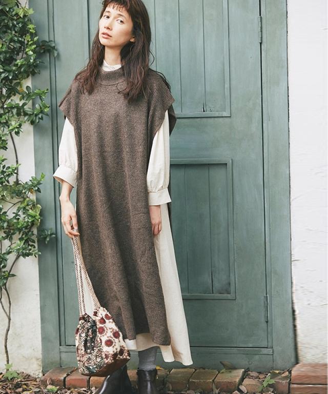 《kazumiさん着用》ハイネックロングベスト73-151464