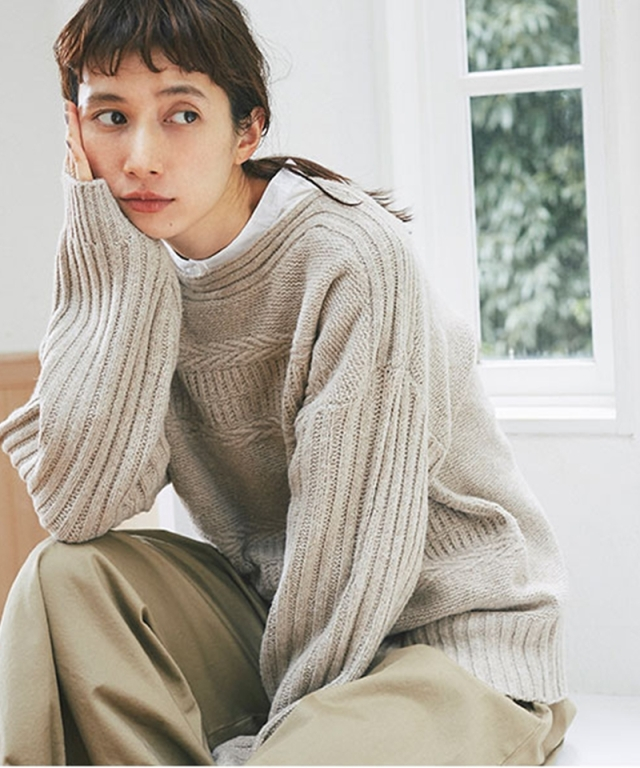 《kazumiさん着用》模様編みニットプルオーバー73-151653