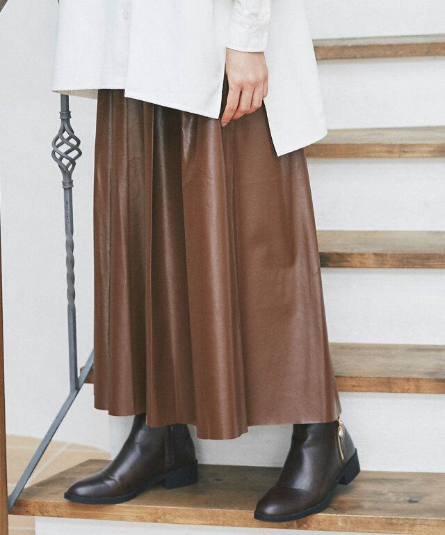 《kazumiさん着用》エコレザーフレアスカート73-151657