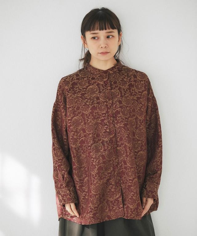 アラベスク柄バンドカラーシャツ73-151764