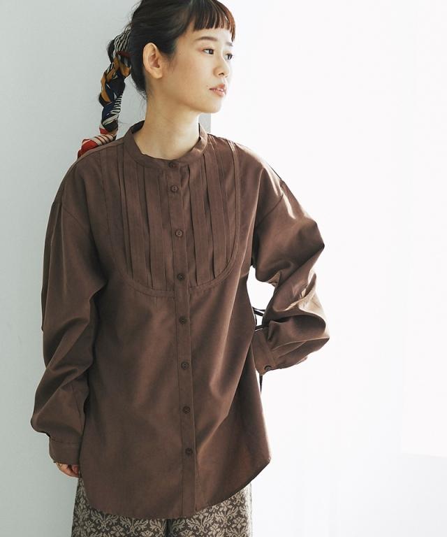 サイドリボンスタンドカラータックシャツ73-152256