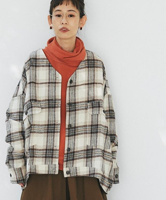 チェックノーカラーシャツジャケット73-153268