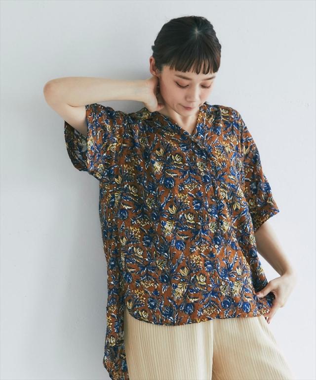 ボタニカルジャガードオープンカラーシャツ73-155938*SALE品につき返品/交換/注文確定後の変更キャンセル不可*