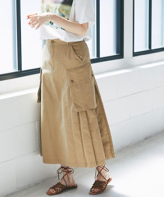 ツイルプリーツフレアカーゴスカート73-156778