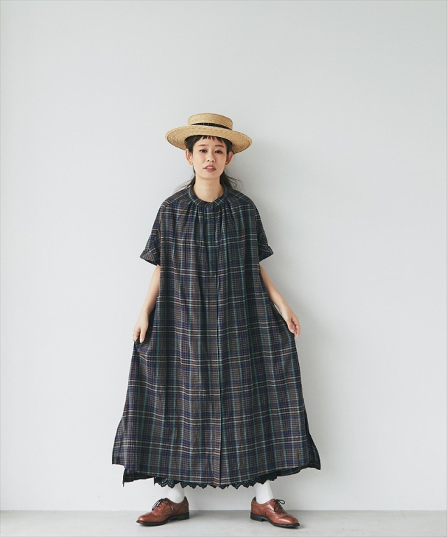 グレンチェックシャツワンピース73-158600