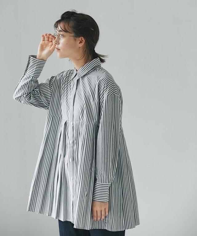 ストライププリーツシャツ73-159357