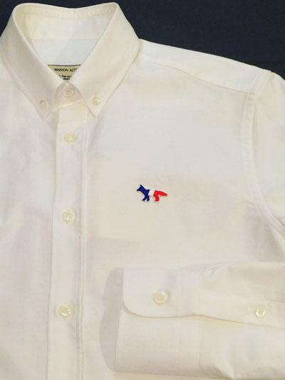 MAISON KITSUNE メゾンキツネ  TRICOLOR PATCH  OXFORD BD SHIRT  トリコロールパッチ BDシャツ