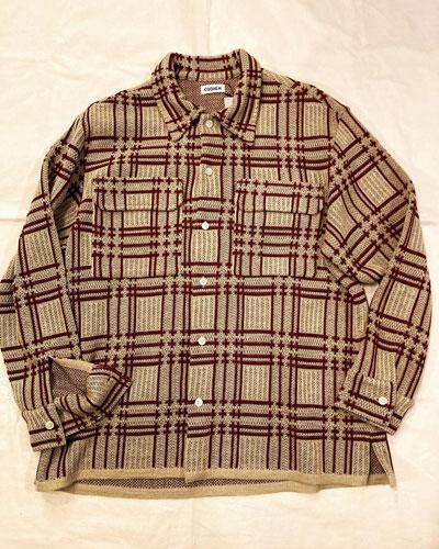 COOHEM (コーヘン) 13-212-021 ALTERNATE CHECK KNIT SHIRT / チェック ニットシャツ *BEIGE