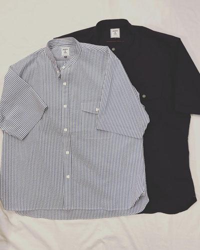 JAMES & CO.(ジェームスアンドコー) JS709  Band Collar Wide Shirt / バンドカラー ワイド 半袖シャツ