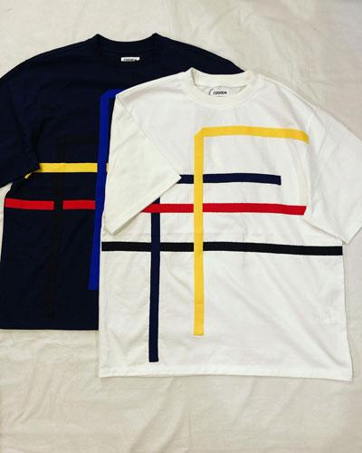 COOHEM (コーヘン) 13-212-026 KNIT DETAIL FLONT T-SHIRT / ニットテープ Tシャツ