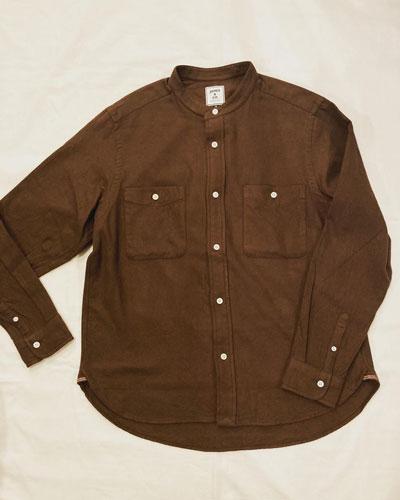 JAMES & CO.(ジェームスアンドコー) JS151 Band Collar Shirt -Flannel- / フランネル バンドカラーシャツ
