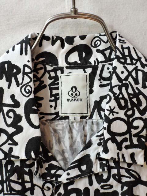 mando・マンド スプレーアート 半袖 オープンカラーシャツ 6195-002