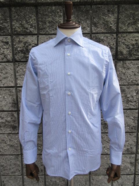 GUY ROVER (ギ・ローバー ) 【新作】 *ブロードワイドカラーマイクロチェックシャツ『スーツ定番』SHIRT