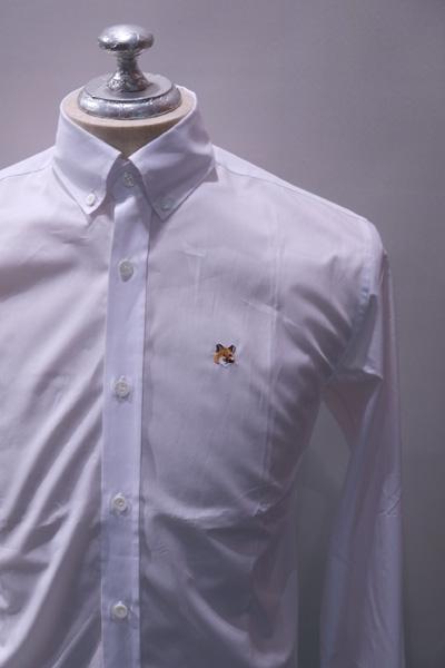 MAISON KITSUNE メゾンキツネ POPLIN CLASSIC SHIRT BD  ポプリンブロード ボタンダウンシャツ *WHITE