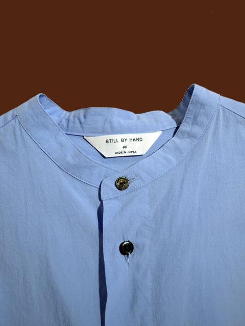 STILL BY HAND スティルバイハンド SH04213 バンドカラーシャツ BLUE
