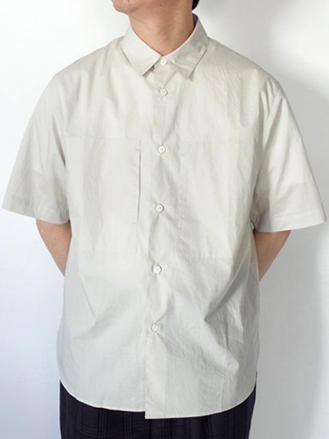 STILL BY HAND スティルバイハンド SH02202 ブロード Wポケット ショートスリーブシャツ LIGHT GREY、SAGE