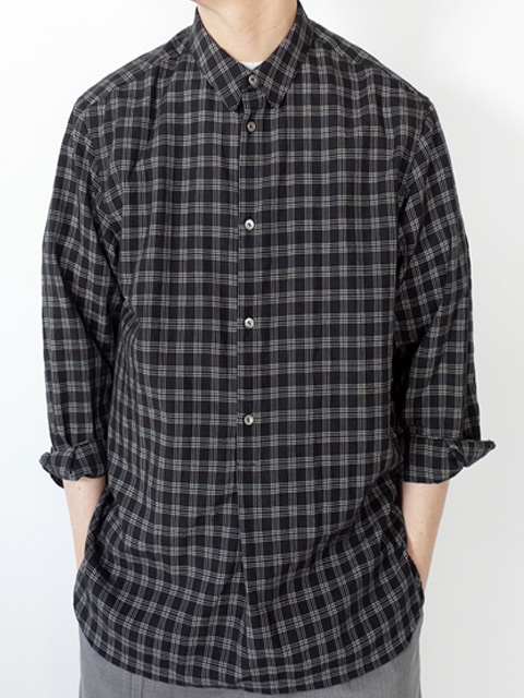 STILL BY HAND スティルバイハンド SH07202 プルオーバー ロングスリーブ チェックシャツ BLACK