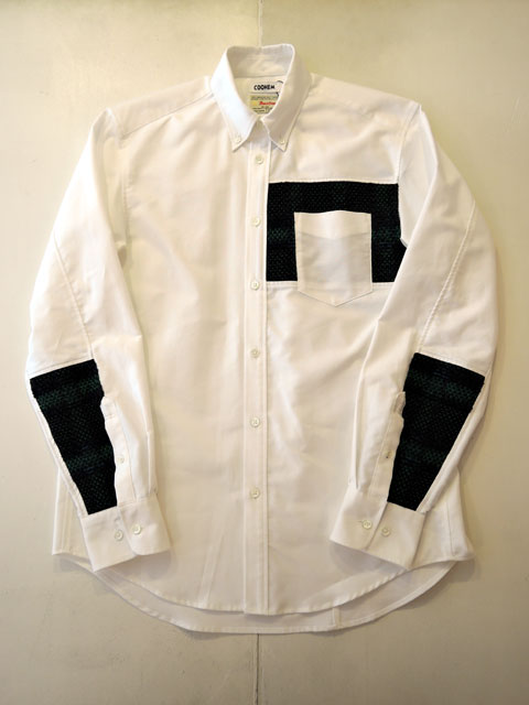 COOHEM (コーヘン) 20-183-010 TARTAN CHECK TWEED SHIRT WHITE