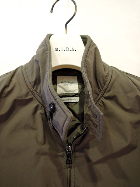 M.I.D.A. (ミダ) M183201 Down padding Harrington Jacket ハリントンジャケット KHAKI