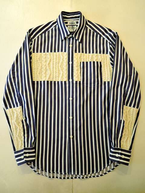 COOHEM (コーヘン) 20-183-020 ARAN KNIT SHIRT NAVY STRIPE