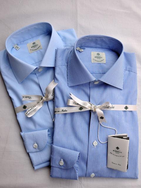 LUIGI BORRELLI (ルイジ ボレッリ) LUCIANO セミワイドカラー ドレスシャツ SKY/グラフチェック、BLUE/ストライプ
