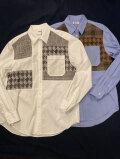 COOHEM (コーヘン) 20-204-011 TWEED PATCHWORK SHIRT (MENS) / ツィードパッチワークシャツ