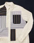 COOHEM (コーヘン) 13-212-011 KNIT PATCHWORK SHIRT / ニットパッチワーク 切替シャツ *WHITE