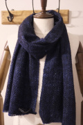 denis colomb デニスコロン ISE scarf *Bleu Nuit YAK × SILK スカーフ  【different通販】
