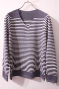 YURI PARK  ユリパーク メンズホールガーメントニット EDERA-WO-BEE / Border V neck SWEATER  ボーダーVネックセーター